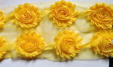 2 1/2 inch wide Fashion Chic Shabby Chiffon Flowers yellow color price per yard