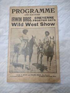 Rare 1913 Original Program Irwin Bros. Cheyenne Frontier Days Wild West Show