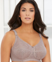 Glamorise Woman's Taupe Comfort Lift Wire- Free Lace Support Bra, Size 48F NWOT