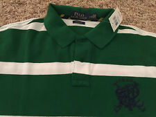 NWT Polo Ralph Lauren Shirt Crest 'CUSTOM FIT' Mens Small - Green/white (1396)