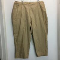 NEW TALBOTS  Woman Stretch Cropped Capri Pants Plus Size 22W Khaki  NWT