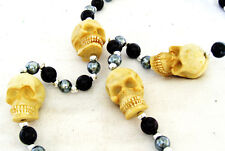 Skull White Skulls Human Mardi Gras Beads New Orleans Halloween Costume Party