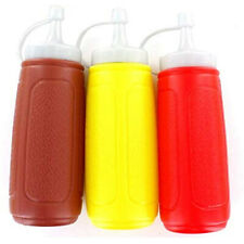 3pc Picnic Condiment 8 oz Squeeze Dispenser Bottles - Ketchup Mustard Bbq Sauce
