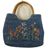 Basket woven floral purse blue stitched summer spring embroidered needlepoint