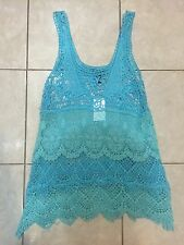Sexy Summer Top Fishnet Layered Top Blue Size S ***NWT***