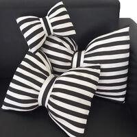 Noir et blanc Coussin housse Décoration maison pour Sofa Canapé Voiture Bowknot