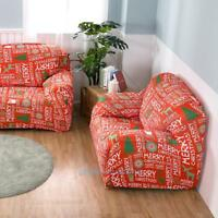 Christmas Letters Printed Stretch Sofa Cover Couch Slipcover Protector Washable