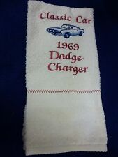 1969 DODGE CHARGER EMBROIDERED HAND TOWEL BY CHRISTINE NEW WHITE