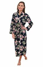 Womens Roses On Navy Blue Bathrobe XL Lightweight Cotton Lounge Spa Robe Extra L