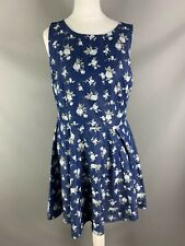 Oasis Size 12 Cotton Blend Fit Flare Chambray Dress Floral Patterned Summer