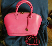 PULICATI SAFFIANO Leather Large Domed Satchel PINK w Crossbody Shoulder Strap