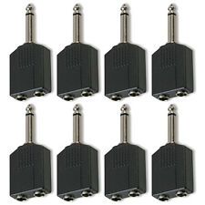 "6.35mm 1/4"" Mono Jack Guitar Plug to 2 x Sockets Splitter Combiner Adaptor x 8"