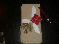 POTTERY BARN CHRISTMAS EMBROIDERED PINECONE & BERRY NAPKINS S/4 NEW WITH SPOT
