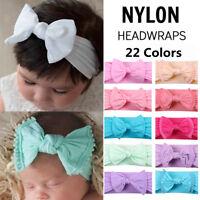 Baby Girl Bunny Bowknot Turban Nylon Headband Elastic Hair Band Headwrap