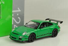 2007 Porsche 911 997 gt3 RS Green Black Stripes/verde 1:24 Welly