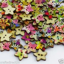 100 Shabby Chic Buttons - STARS - Wood - 18mm - Scrapbooking - Crafting - Sewing
