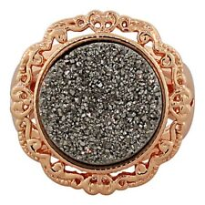 18K Rose Gold Plated Bronze Black Drusy Quartz Glitter Fashion Cocktail Ring