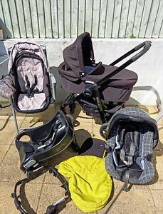 Graco Evo Travel System: Pram/Carrycot, Pushchair, Car Seat+ I-sofix base+ Extra