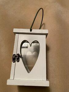 "White Wooden Heart Lantern, Tealight Candle Holder 11"" x 5"" x 4.25"" Opening Door"