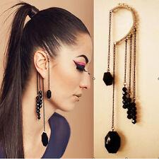 Long Dangle Chain Retro Black Gemstone Beads Tassels Ear Clip Hook Earring