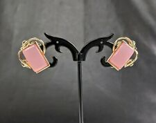 Lovely Vintage Gold-tone Pink Cabochons Earrings by Coro Jewellery
