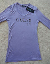 NWT GUESS by Marciano Top Rhinestone Logo on Front Purple Lilac size 2 small s