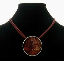 "15-19"" Chico's Maroon Enamel Pendant Necklace Cord Red Burgundy Purple"