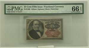 Fr #1309 25 Cent 5th Issue Fractional Currency PMG 66 EPQ Gem Unc Short Thick