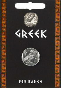 Greek Owl Coin Pin Badge - Fine British Made Pewter