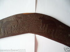 ABORIGINAL OLD MULGA WOOD WOODEN BOOMERANG WITH ART WORK TWO CARVED KANGAROOS