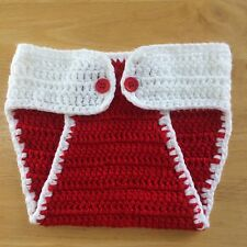Diaper Cover Baby Unisex Crochet Red White Christmas Photography 100% Acrylic