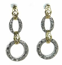 Circle Drop Earrings ' Two-tone Solid 925 Sterling Silver