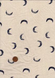 100% Cotton Fabric Novelty Small Crescent Moons Black Ecru Patchwork Craft