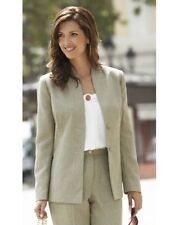LADIES SAGE GREEN LINEN LOOK FABRIC SMART CASUAL TAILOR BLAZER JACKET NEW (347