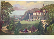 Life In Country Evening Mansion Fountain 1952 Color Lithograph Currier Ives