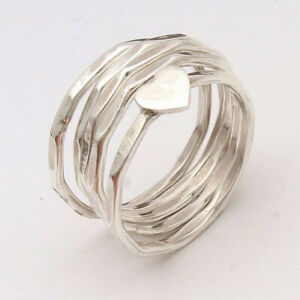 Heart Stacking Ring 925 Sterling Silver Ring Handmade Ring Worry Ring AM-165