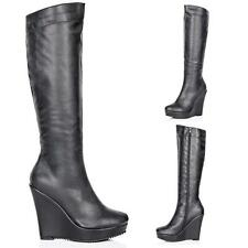 Women's Synthetic Leather Knee High Wedge Boots
