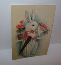 EASTER Post Card Dressed Bunny Rabbit With Flowers Reproduction Great Graphics