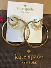 NEW Kate Spade Gold Pave FLYING COLORS Faux Pearl Double Hoop Earrings WBRUF499