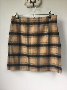 Gorgeous Ladies Hobbs Brown & Black Check Wool Skirt, UK Size 12, Good Condi