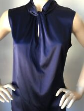 NWT St John knit top size L Navy blue silk