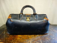 Antique 1930s Schell Black Leather Doctors Bag Top Grain Cowhide 710-42 / 14
