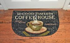 19X32 Coffee Cup Good Times Cafe Brown Beige Slice Kitchen Rug Mat Washable Cute