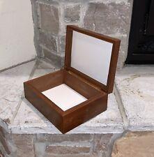 Vintage Fairfax Mahogany Walnut Wood Cigar Tobacco Humidor Box Brass Hinged Lid