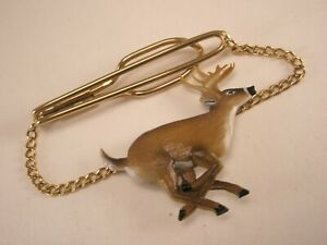 -American White Tailed Deer Gold Tone Vintage Pendant Tie Bar Clip