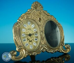 VINTAGE WEST GERMANY ESTYMA WIND UP ALARM PICTURE FRAME CLOCK SHABBY CHIC