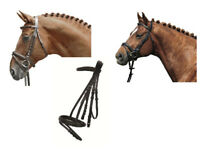 HKM German Leather Padded Bridle FREE Reins Black/ Brown Shetland/Pony/Cob/Full
