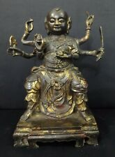 Rare Large Old Chinese Bronze Six Hands Tibetan Buddha Statue