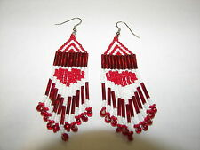 Seed  Bead Earrings  NEW handmade Red and white  heart shaped earrings Valentine
