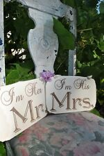 I'm His Mrs & I'm Her Mr Wedding Sign Set, Hand Painted, Laser Etched
